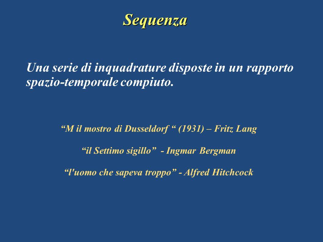 Sequenza Una serie di inquadrature disposte in un rapporto spazio-temporale compiuto. M il mostro di Dusseldorf (1931) – Fritz Lang il Settimo sigillo