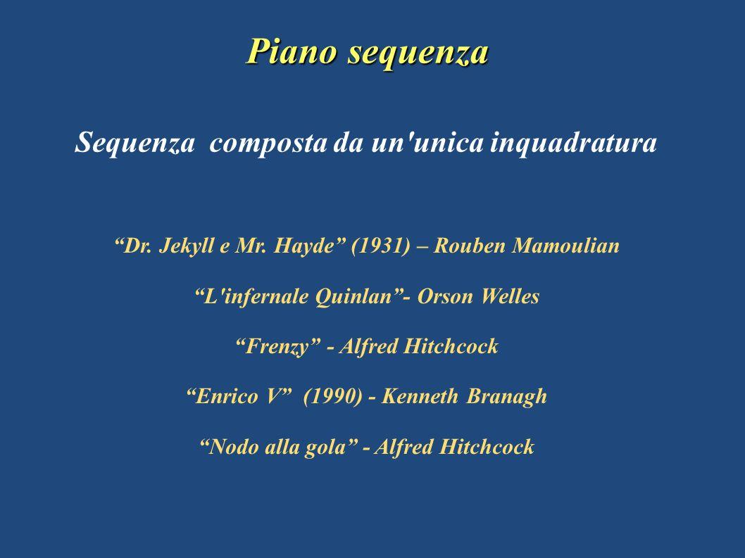 Sequenza composta da un'unica inquadratura Piano sequenza Dr. Jekyll e Mr. Hayde (1931) – Rouben Mamoulian L'infernale Quinlan- Orson Welles Frenzy -