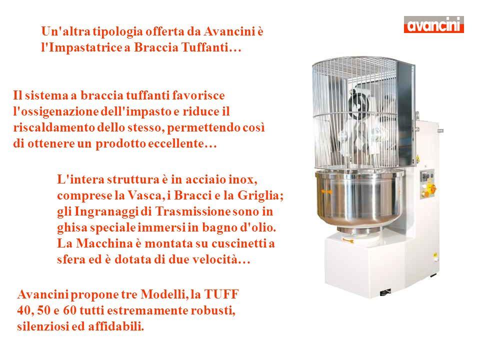 Un'altra tipologia offerta da Avancini è l'Impastatrice a Braccia Tuffanti… Il sistema a braccia tuffanti favorisce l'ossigenazione dell'impasto e rid