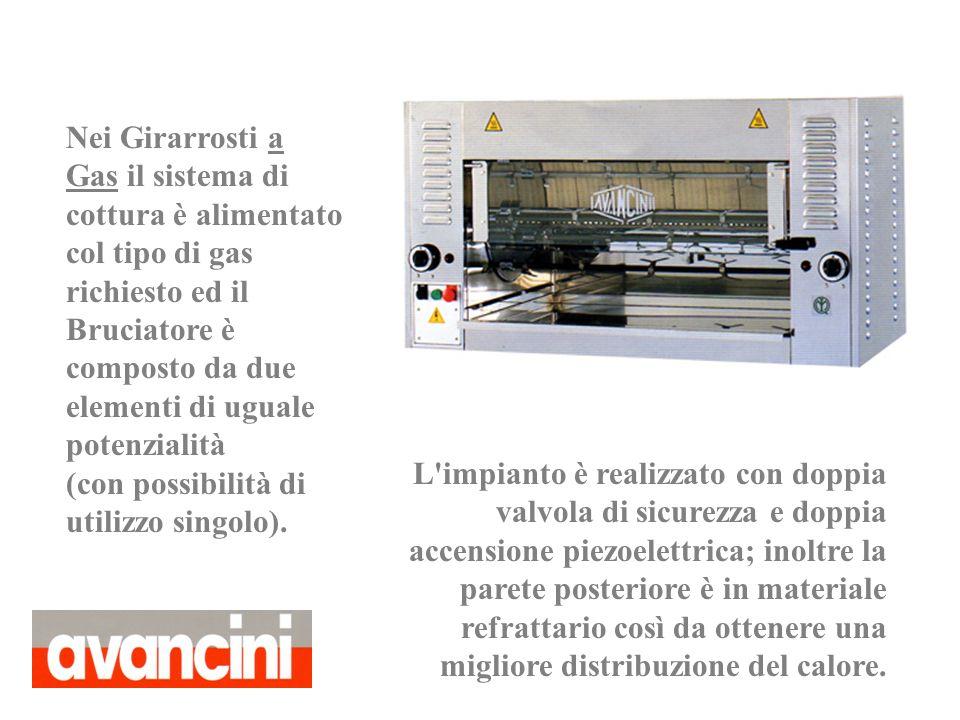 L'impianto è realizzato con doppia valvola di sicurezza e doppia accensione piezoelettrica; inoltre la parete posteriore è in materiale refrattario co