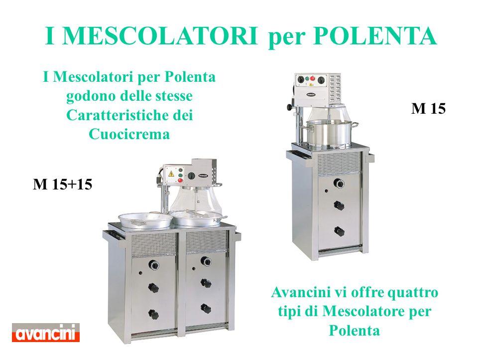 I Mescolatori per Polenta godono delle stesse Caratteristiche dei Cuocicrema Avancini vi offre quattro tipi di Mescolatore per Polenta I MESCOLATORI p