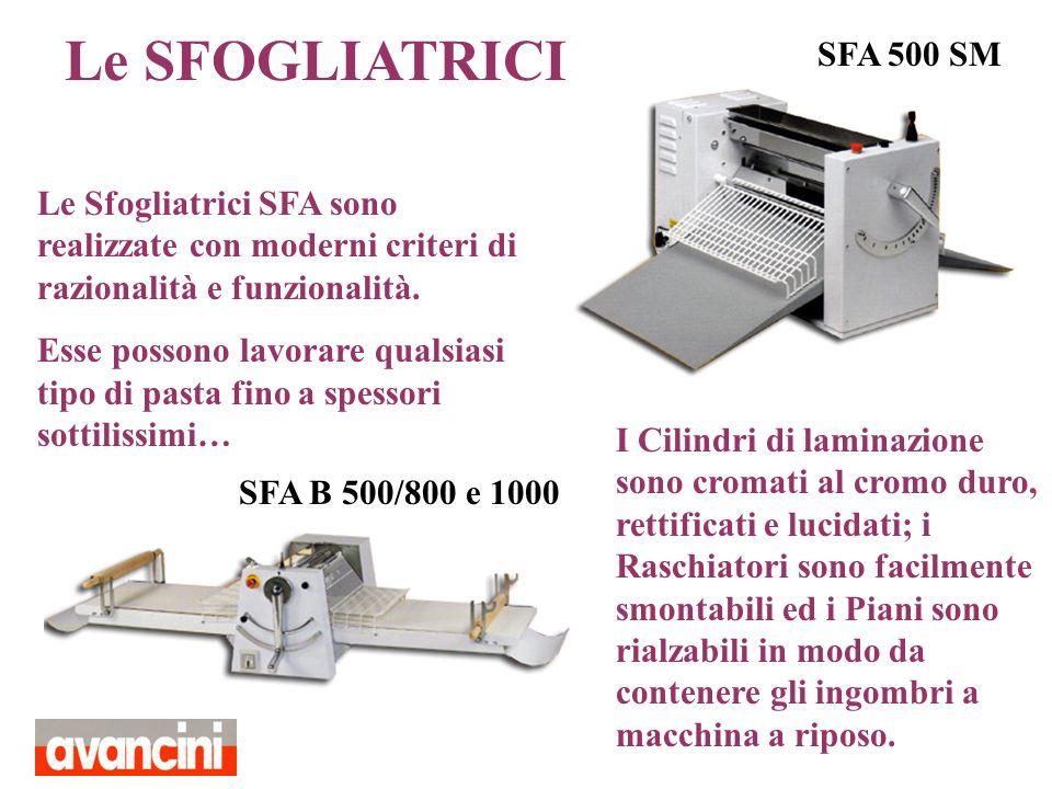 Le SFOGLIATRICI Le Sfogliatrici SFA sono realizzate con moderni criteri di razionalità e funzionalità. Esse possono lavorare qualsiasi tipo di pasta f