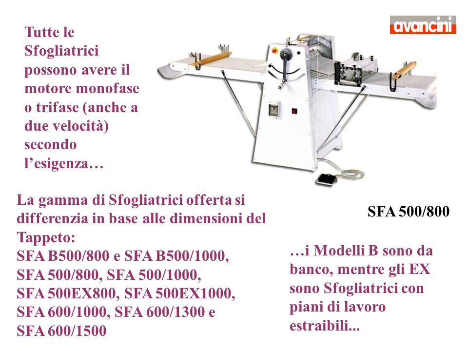 SFA 500/800 Tutte le Sfogliatrici possono avere il motore monofase o trifase (anche a due velocità) secondo lesigenza… La gamma di Sfogliatrici offert