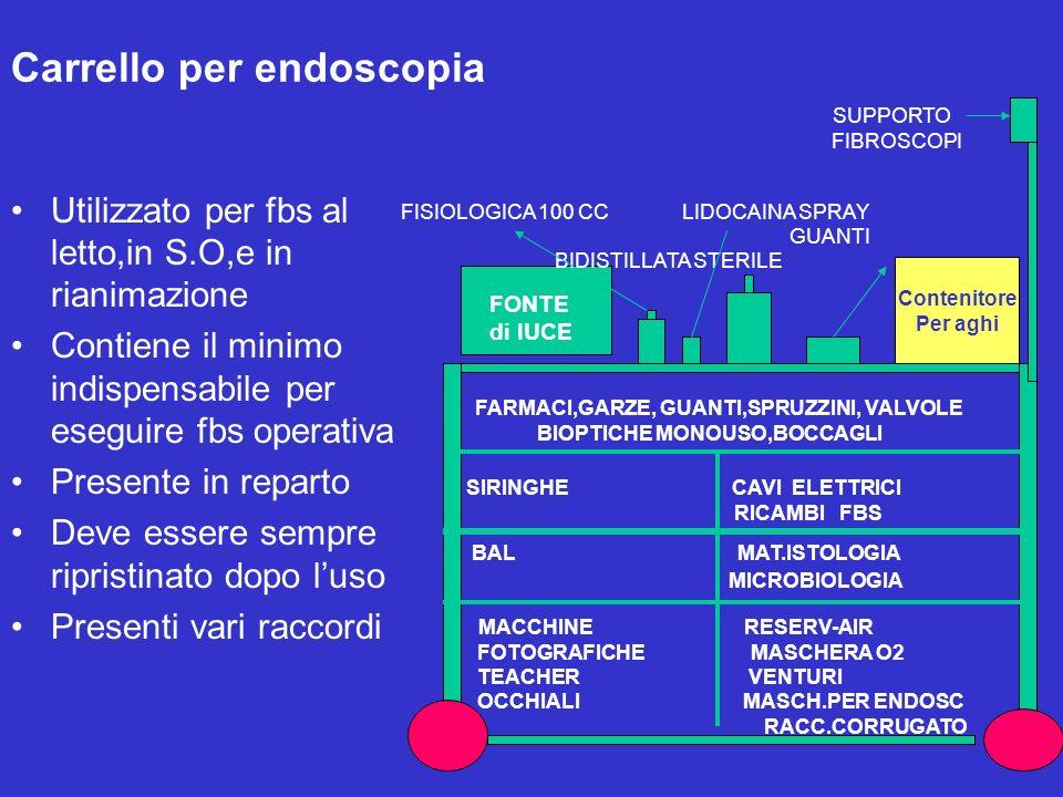 Carrello per endoscopia Utilizzato per fbs al letto,in S.O,e in rianimazione Contiene il minimo indispensabile per eseguire fbs operativa Presente in