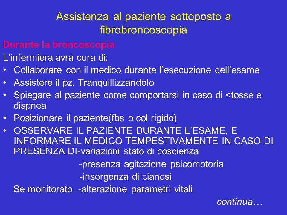 Assistenza al paziente sottoposto a fibrobroncoscopia Durante la broncoscopia Linfermiera avrà cura di: Collaborare con il medico durante lesecuzione