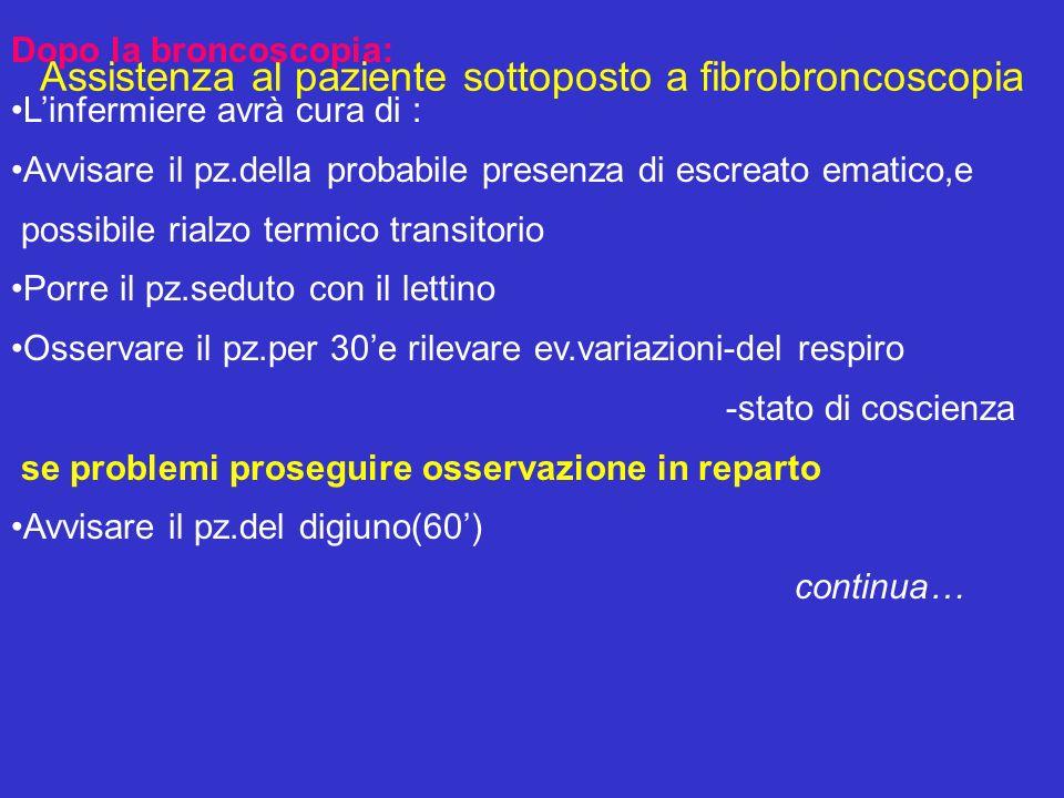 Assistenza al paziente sottoposto a fibrobroncoscopia Dopo la broncoscopia: Linfermiere avrà cura di : Avvisare il pz.della probabile presenza di escr