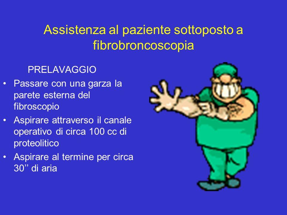 Assistenza al paziente sottoposto a fibrobroncoscopia PRELAVAGGIO Passare con una garza la parete esterna del fibroscopio Aspirare attraverso il canal