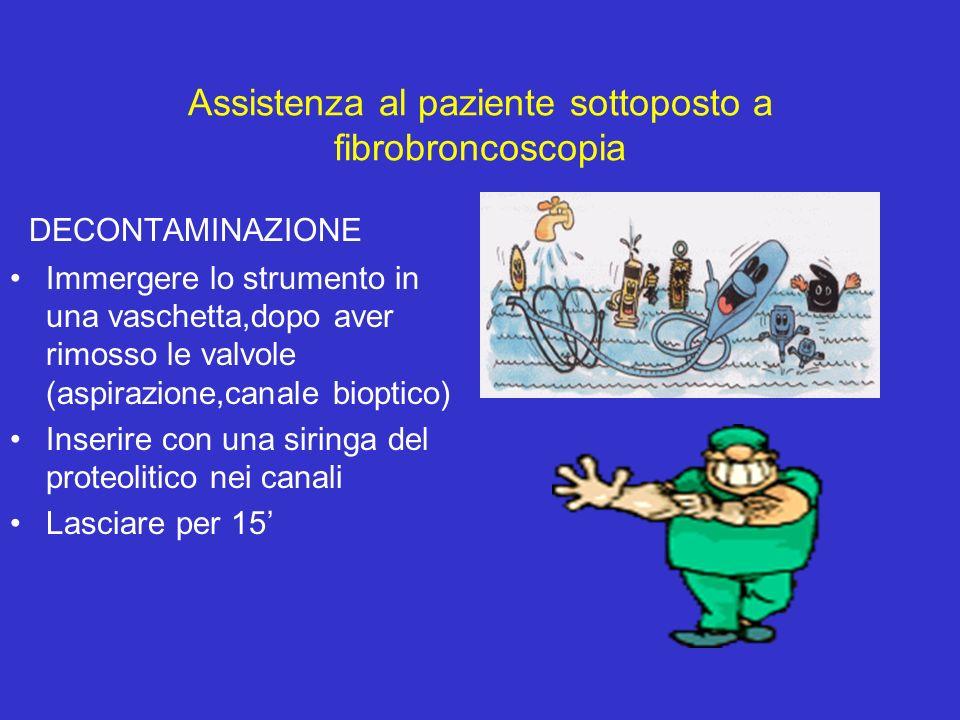 Assistenza al paziente sottoposto a fibrobroncoscopia DECONTAMINAZIONE Immergere lo strumento in una vaschetta,dopo aver rimosso le valvole (aspirazio