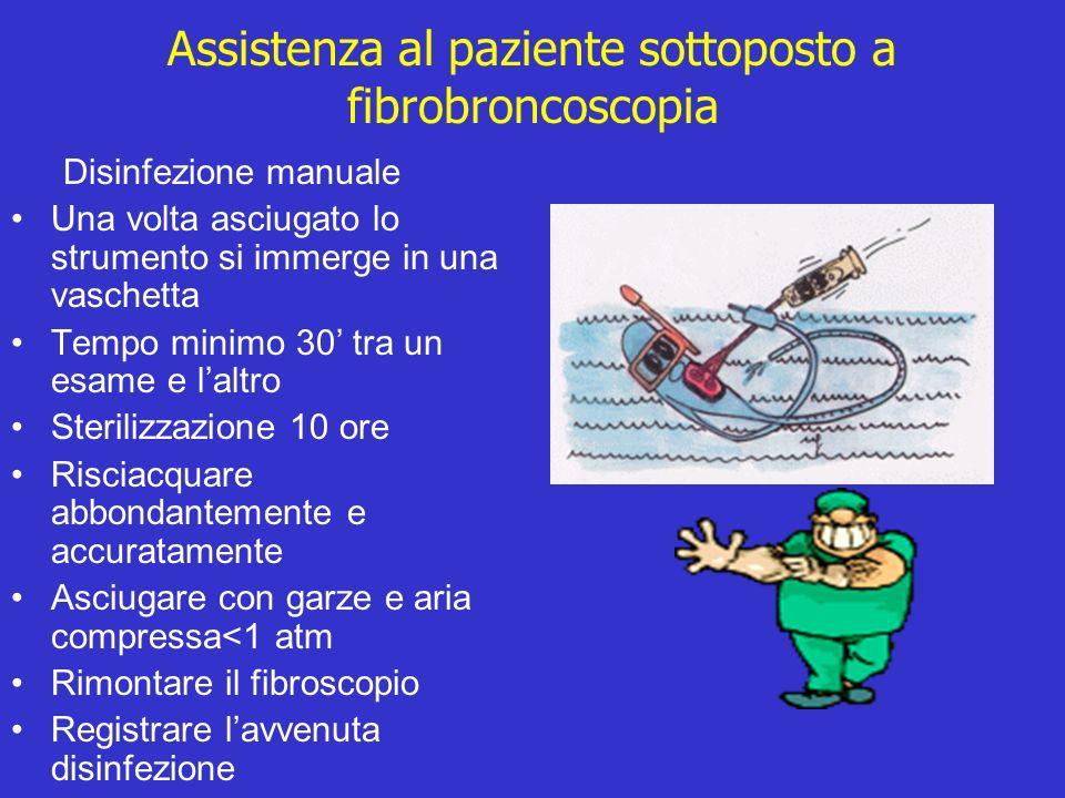Assistenza al paziente sottoposto a fibrobroncoscopia Disinfezione manuale Una volta asciugato lo strumento si immerge in una vaschetta Tempo minimo 3