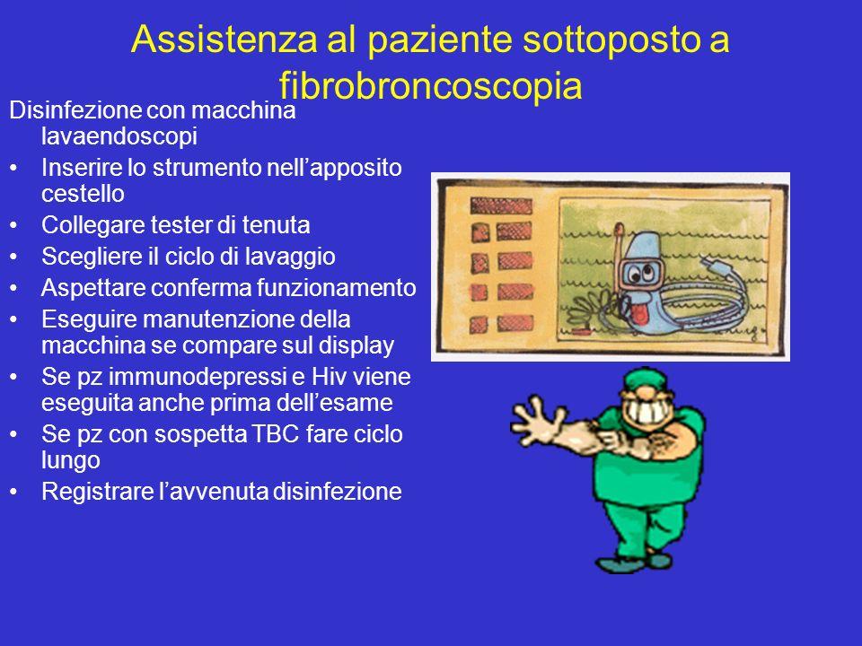 Assistenza al paziente sottoposto a fibrobroncoscopia Disinfezione con macchina lavaendoscopi Inserire lo strumento nellapposito cestello Collegare te