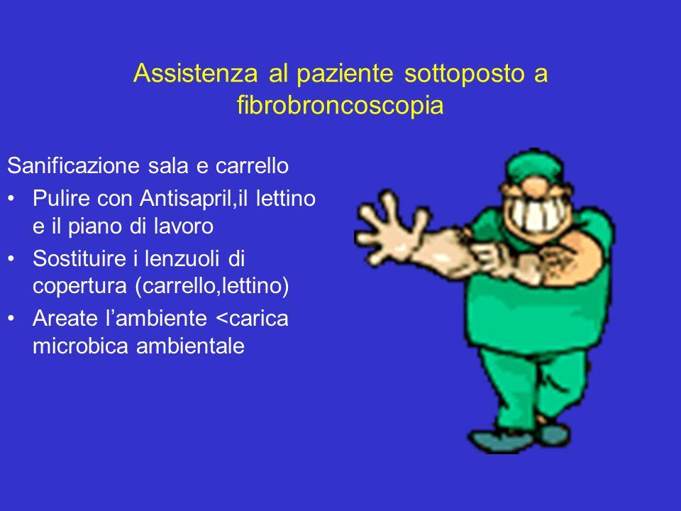 Assistenza al paziente sottoposto a fibrobroncoscopia Sanificazione sala e carrello Pulire con Antisapril,il lettino e il piano di lavoro Sostituire i