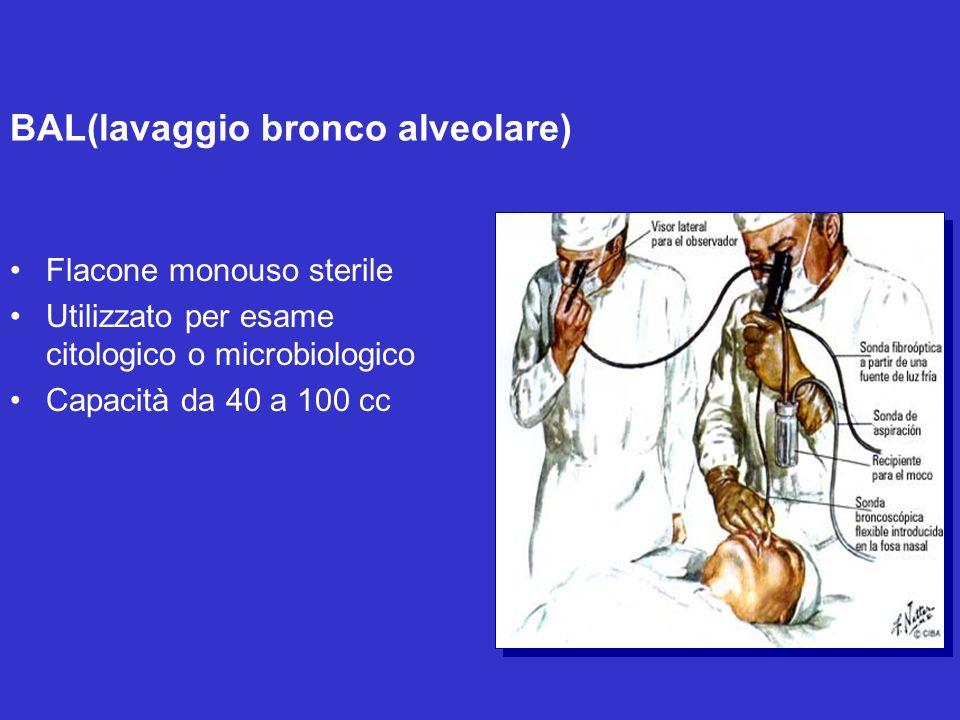 BAL(lavaggio bronco alveolare) Flacone monouso sterile Utilizzato per esame citologico o microbiologico Capacità da 40 a 100 cc
