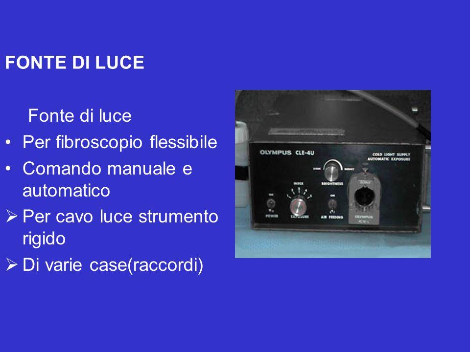 FONTE DI LUCE Fonte di luce Per fibroscopio flessibile Comando manuale e automatico Per cavo luce strumento rigido Di varie case(raccordi)