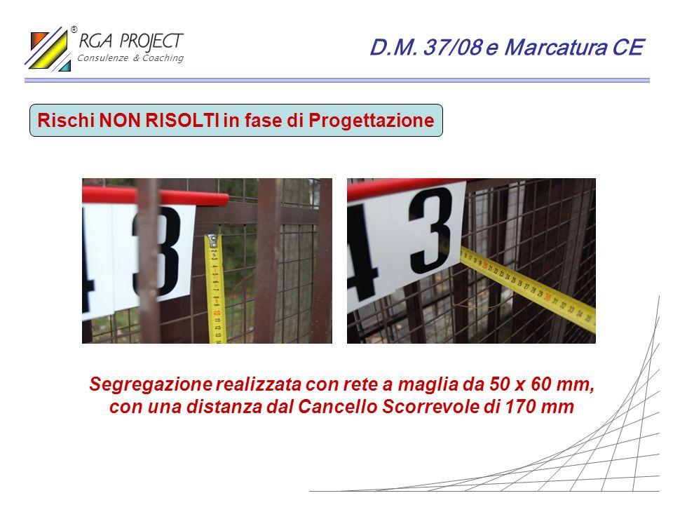 D.M. 37/08 e Marcatura CE Rischi NON RISOLTI in fase di Progettazione Segregazione realizzata con rete a maglia da 50 x 60 mm, con una distanza dal Ca