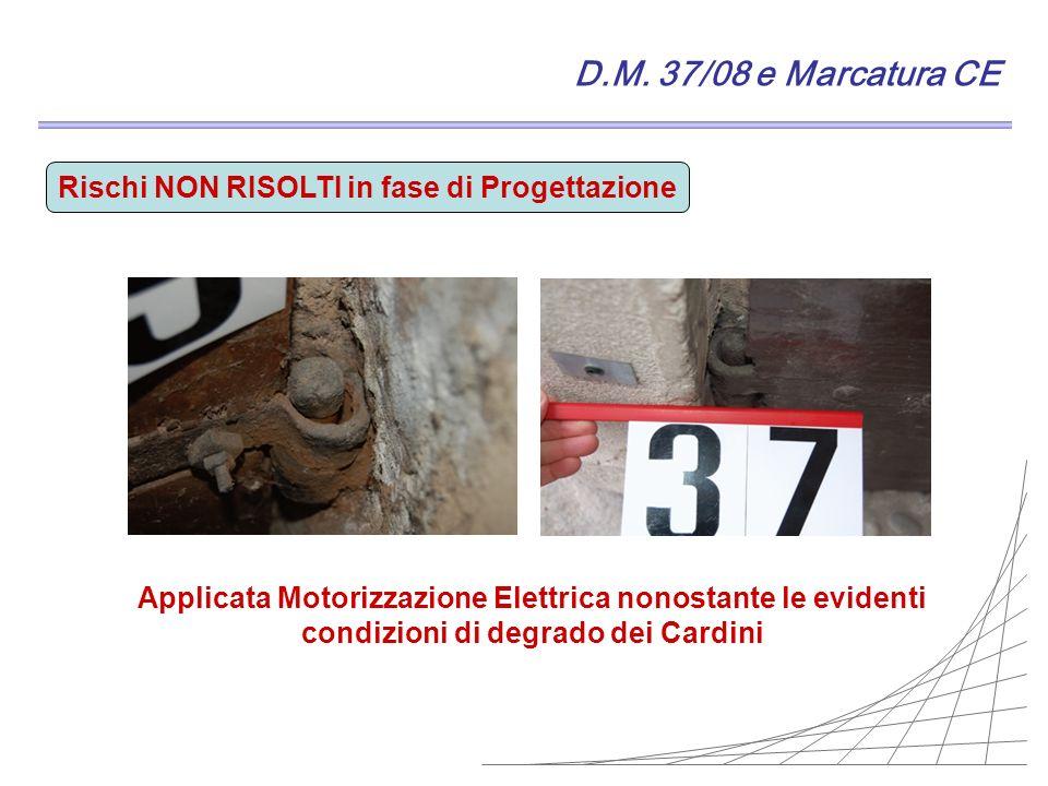 D.M. 37/08 e Marcatura CE Rischi NON RISOLTI in fase di Progettazione Applicata Motorizzazione Elettrica nonostante le evidenti condizioni di degrado