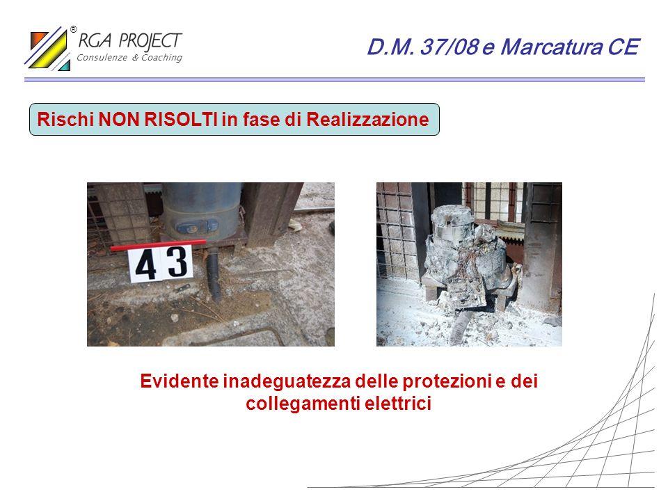 D.M. 37/08 e Marcatura CE Rischi NON RISOLTI in fase di Realizzazione Evidente inadeguatezza delle protezioni e dei collegamenti elettrici Consulenze