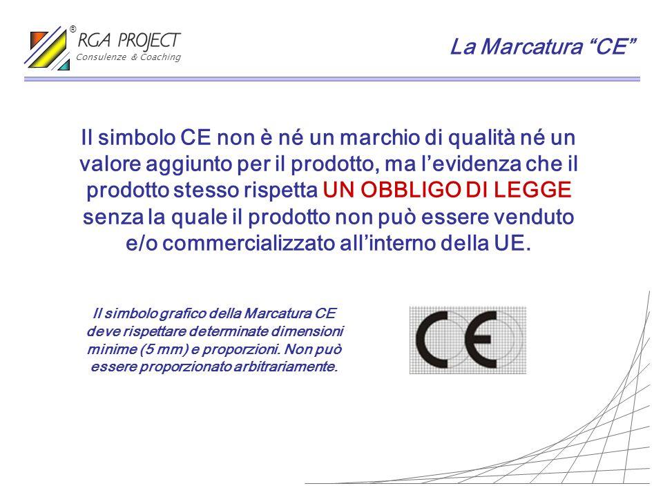La Marcatura CE Il simbolo grafico della Marcatura CE deve rispettare determinate dimensioni minime (5 mm) e proporzioni. Non può essere proporzionato