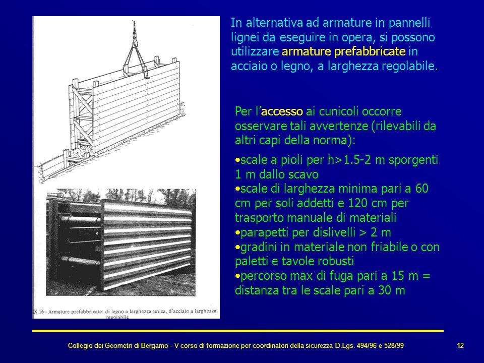 Collegio dei Geometri di Bergamo - V corso di formazione per coordinatori della sicurezza D.Lgs. 494/96 e 528/99 In alternativa ad armature in pannell