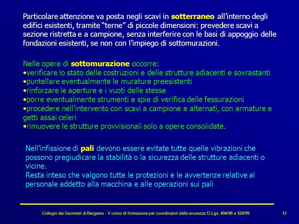 Collegio dei Geometri di Bergamo - V corso di formazione per coordinatori della sicurezza D.Lgs. 494/96 e 528/99 Nelle opere di sottomurazione occorre