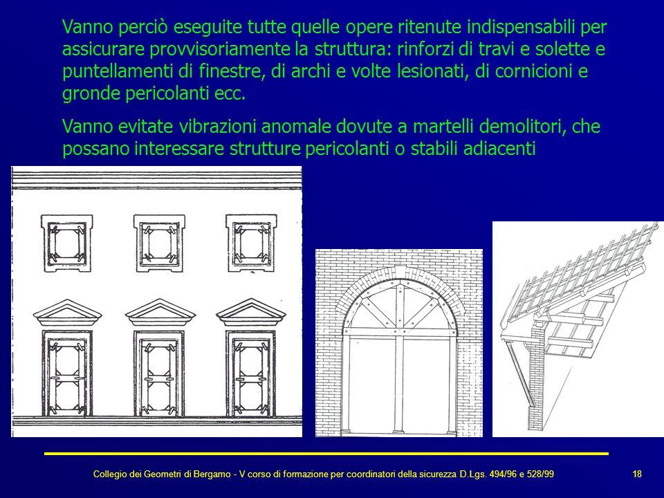 Collegio dei Geometri di Bergamo - V corso di formazione per coordinatori della sicurezza D.Lgs. 494/96 e 528/99 Vanno perciò eseguite tutte quelle op