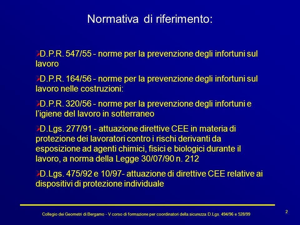 Collegio dei Geometri di Bergamo - V corso di formazione per coordinatori della sicurezza D.Lgs. 494/96 e 528/99 Normativa di riferimento: D.P.R. 547/