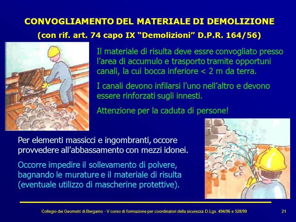 Collegio dei Geometri di Bergamo - V corso di formazione per coordinatori della sicurezza D.Lgs. 494/96 e 528/99 CONVOGLIAMENTO DEL MATERIALE DI DEMOL