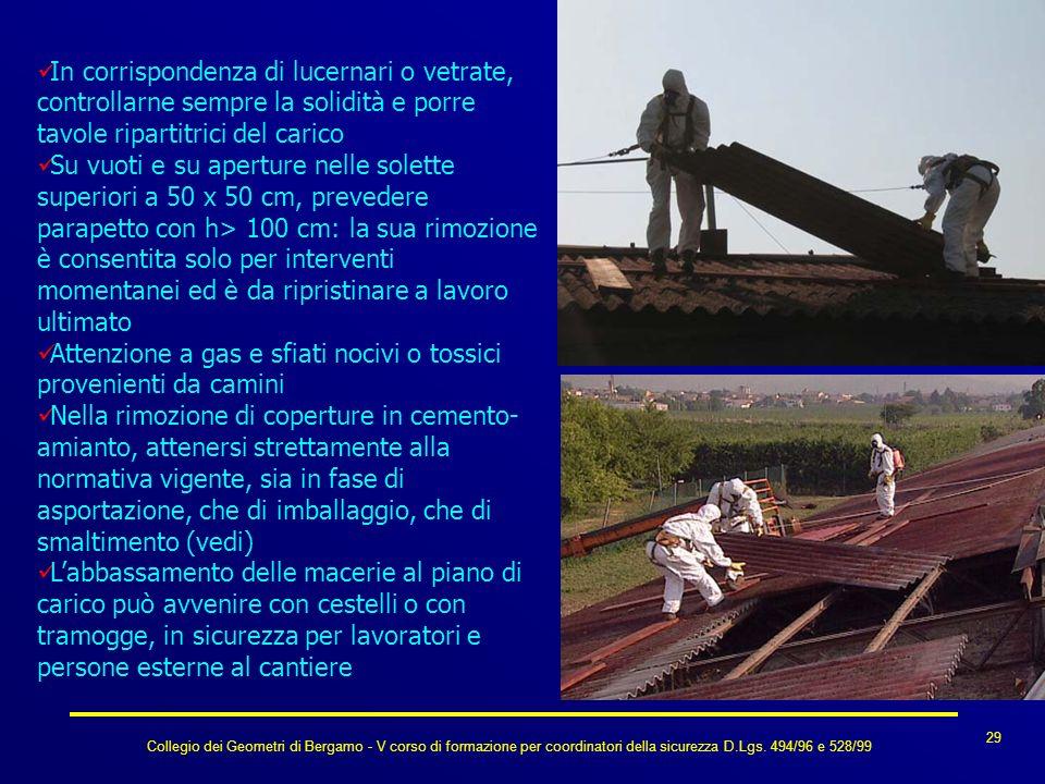 Collegio dei Geometri di Bergamo - V corso di formazione per coordinatori della sicurezza D.Lgs. 494/96 e 528/99 29 In corrispondenza di lucernari o v
