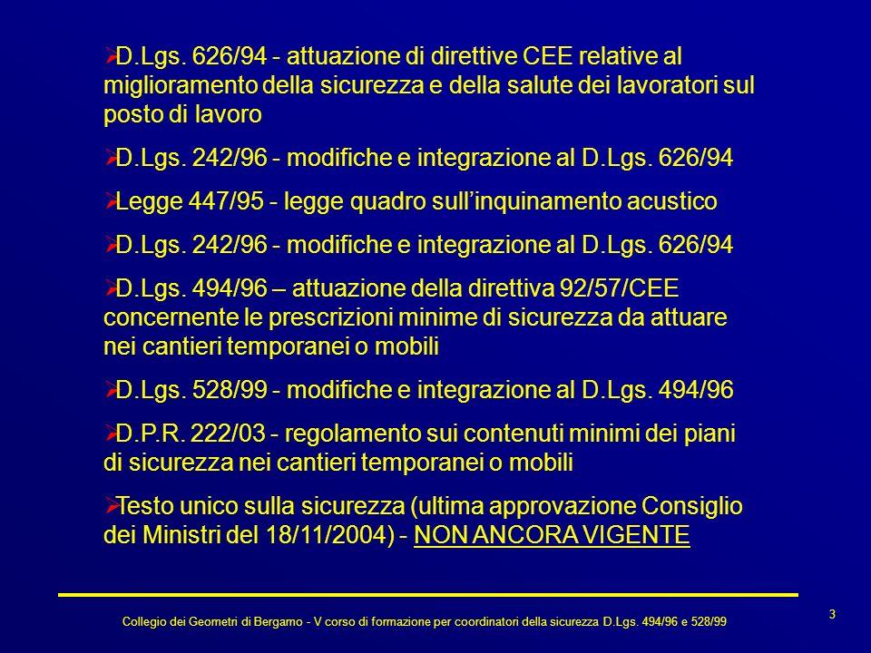 Collegio dei Geometri di Bergamo - V corso di formazione per coordinatori della sicurezza D.Lgs. 494/96 e 528/99 D.Lgs. 626/94 - attuazione di diretti
