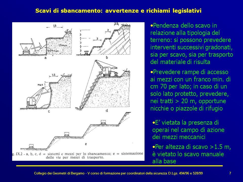 Collegio dei Geometri di Bergamo - V corso di formazione per coordinatori della sicurezza D.Lgs. 494/96 e 528/99 Scavi di sbancamento: avvertenze e ri