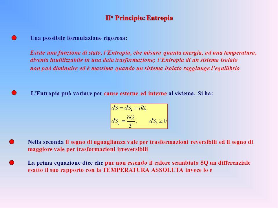 il II o Principio impone dei vincoli alle trasformazioni di calore in lavoro ma non di lavoro in calore (p.es. per attrito si può trasformare lavoro i