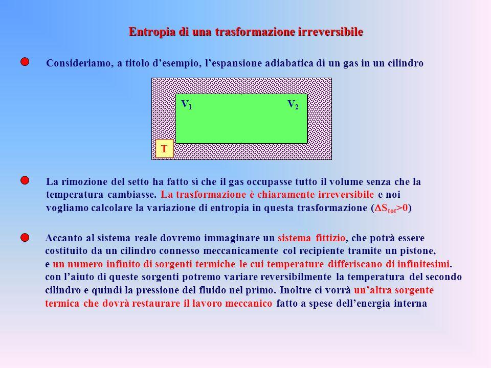 Ma in una trasformazione adiabatica reversibile la quantità di calore scambiato è sempre nulla, ed è quindi sempre nulla la variazione di entropia (tr