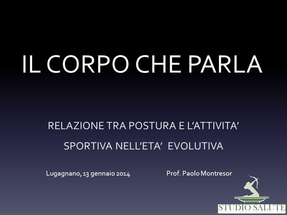 IL CORPO CHE PARLA RELAZIONE TRA POSTURA E LATTIVITA SPORTIVA NELLETA EVOLUTIVA Lugagnano, 13 gennaio 2014 Prof. Paolo Montresor