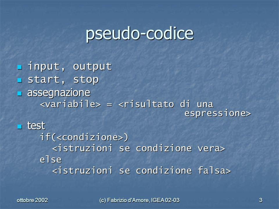 ottobre 2002(c) Fabrizio d Amore, IGEA 02-033 pseudo-codice input, output input, output start, stop start, stop assegnazione assegnazione = = test testif(<condizione>) else