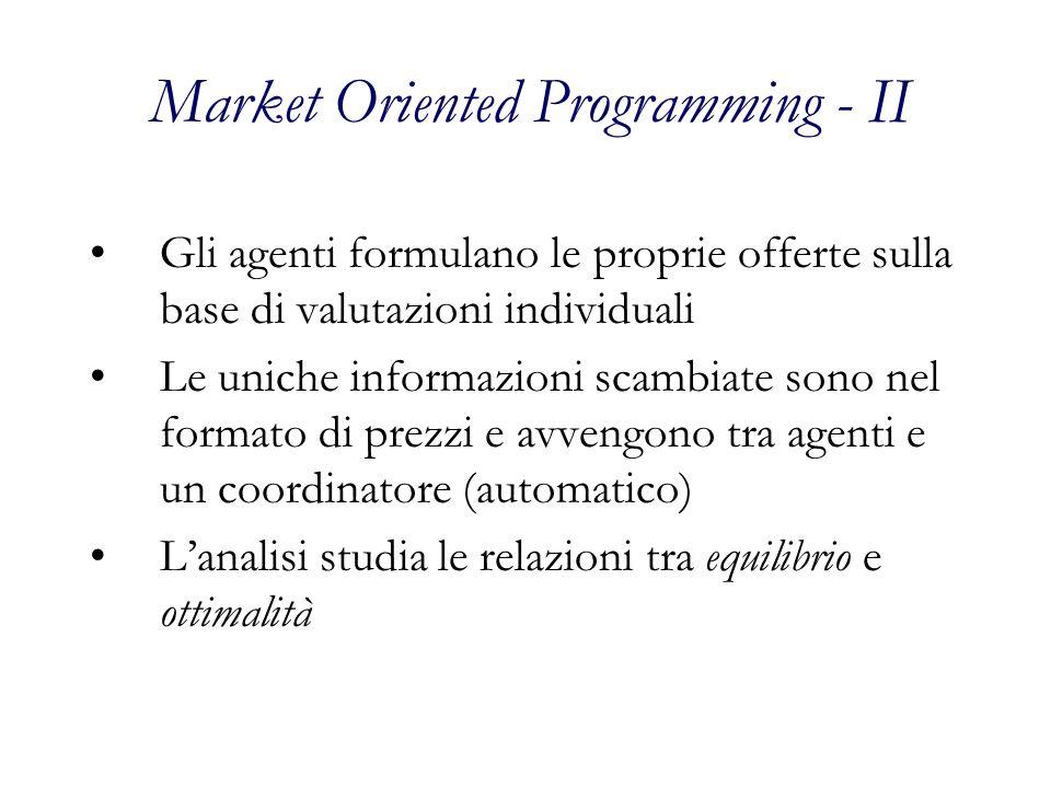 Market Oriented Programming - II Gli agenti formulano le proprie offerte sulla base di valutazioni individuali Le uniche informazioni scambiate sono nel formato di prezzi e avvengono tra agenti e un coordinatore (automatico) Lanalisi studia le relazioni tra equilibrio e ottimalità