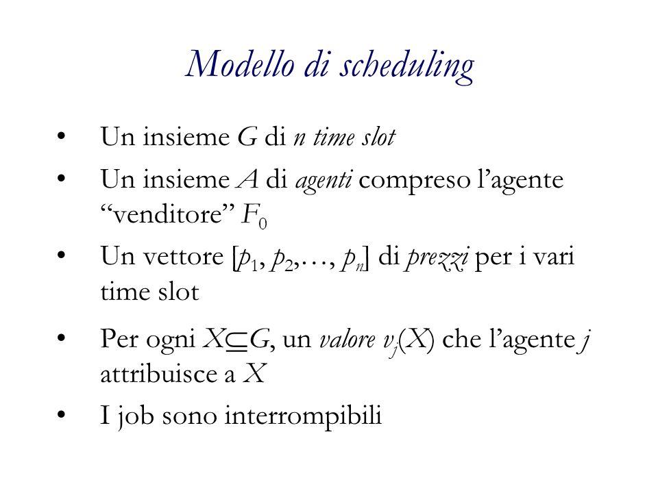 Modello di scheduling Un insieme G di n time slot Un insieme A di agenti compreso lagente venditore F 0 Un vettore [p 1, p 2,…, p n ] di prezzi per i vari time slot Per ogni X G, un valore v j (X) che lagente j attribuisce a X I job sono interrompibili