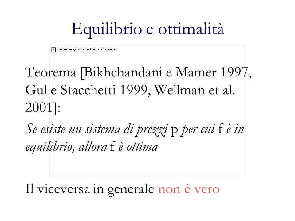 Equilibrio e ottimalità Teorema [Bikhchandani e Mamer 1997, Gul e Stacchetti 1999, Wellman et al. 2001]: Se esiste un sistema di prezzi p per cui f è