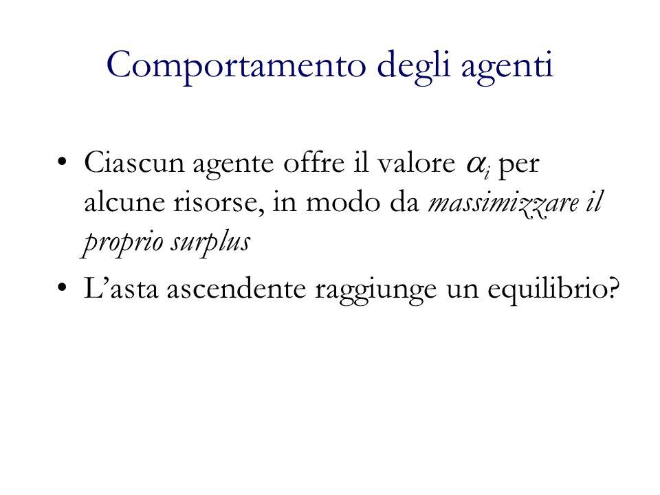 Comportamento degli agenti Ciascun agente offre il valore i per alcune risorse, in modo da massimizzare il proprio surplus Lasta ascendente raggiunge un equilibrio?