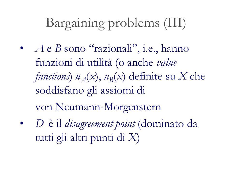 Bargaining problems (III) A e B sono razionali, i.e., hanno funzioni di utilità (o anche value functions) u A (x), u B (x) definite su X che soddisfano gli assiomi di von Neumann-Morgenstern D è il disagreement point (dominato da tutti gli altri punti di X)
