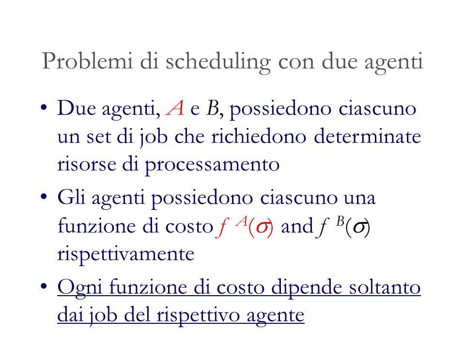 Problemi di scheduling con due agenti Due agenti, A e B, possiedono ciascuno un set di job che richiedono determinate risorse di processamento Gli agenti possiedono ciascuno una funzione di costo f A ( ) and f B ( ) rispettivamente Ogni funzione di costo dipende soltanto dai job del rispettivo agente