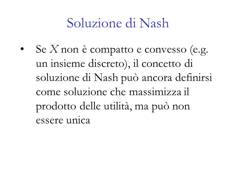 Soluzione di Nash Se X non è compatto e convesso (e.g. un insieme discreto), il concetto di soluzione di Nash può ancora definirsi come soluzione che