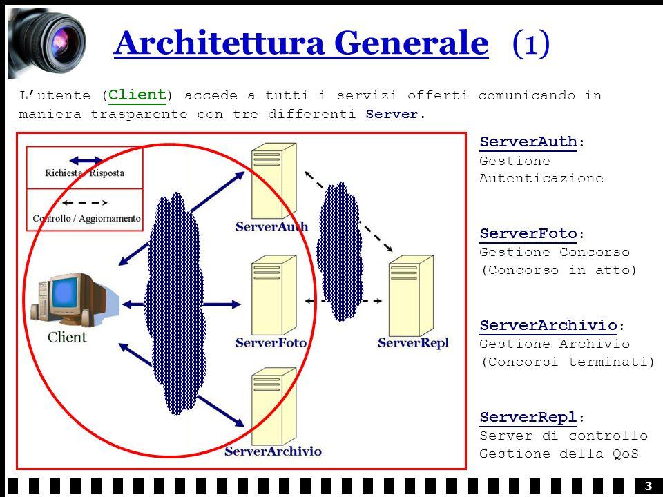 3 Architettura Generale(1) Lutente ( Client ) accede a tutti i servizi offerti comunicando in maniera trasparente con tre differenti Server.