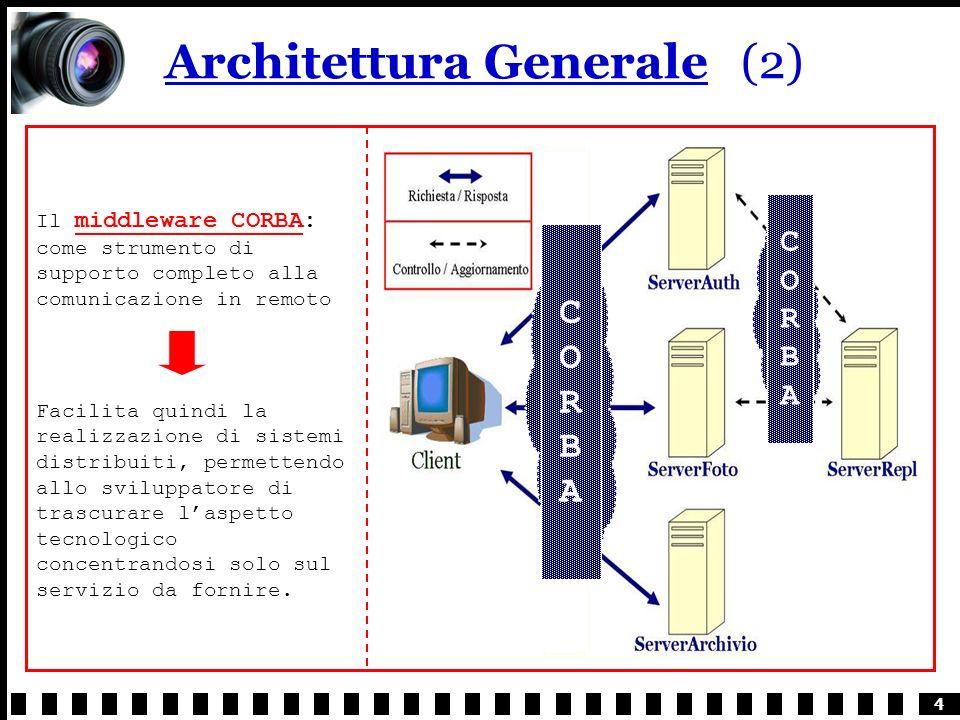4 Architettura Generale(2) Il middleware CORBA: come strumento di supporto completo alla comunicazione in remoto Facilita quindi la realizzazione di sistemi distribuiti, permettendo allo sviluppatore di trascurare laspetto tecnologico concentrandosi solo sul servizio da fornire.
