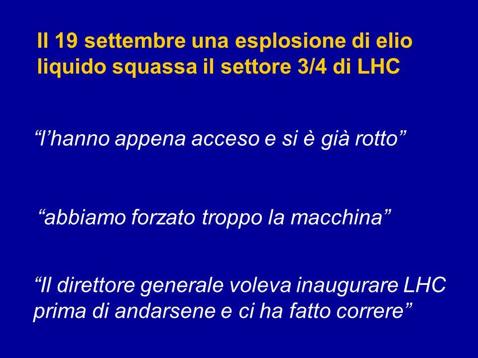 Il 19 settembre una esplosione di elio liquido squassa il settore 3/4 di LHC lhanno appena acceso e si è già rotto abbiamo forzato troppo la macchina