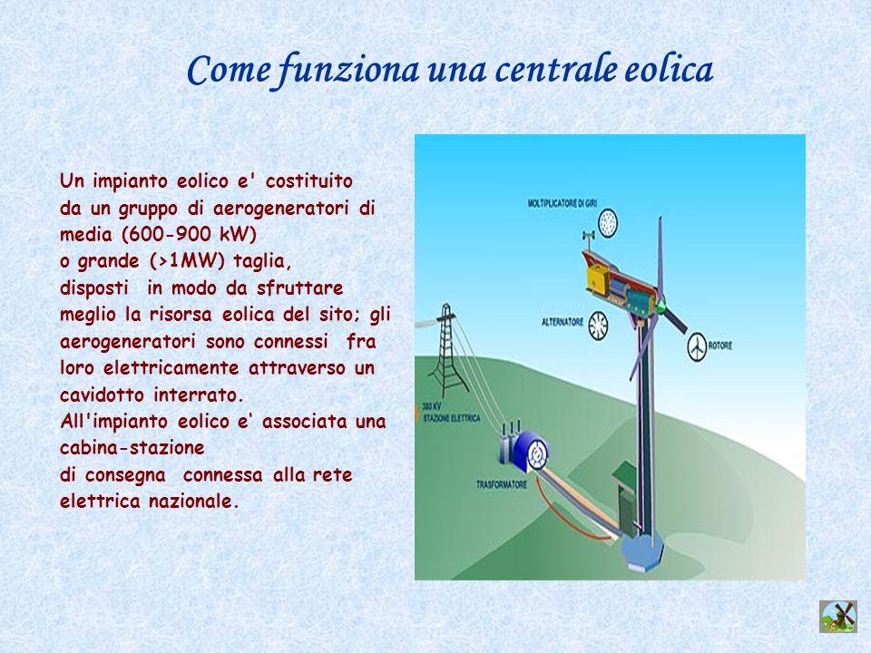 Un impianto eolico e' costituito da un gruppo di aerogeneratori di media (600-900 kW) o grande (>1MW) taglia, disposti in modo da sfruttare meglio la