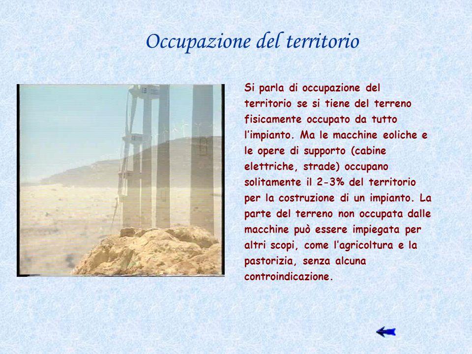 Occupazione del territorio Si parla di occupazione del territorio se si tiene del terreno fisicamente occupato da tutto limpianto. Ma le macchine eoli
