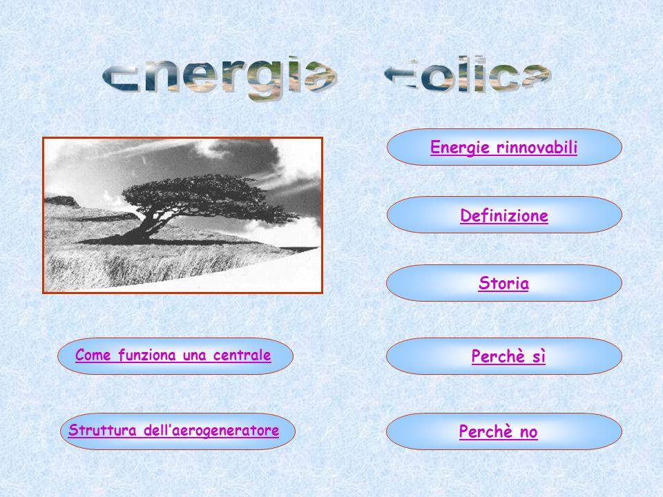 Energie rinnovabiliStoriaDefinizionePerchè sìPerchè no Come funziona una centraleStruttura dellaerogeneratore