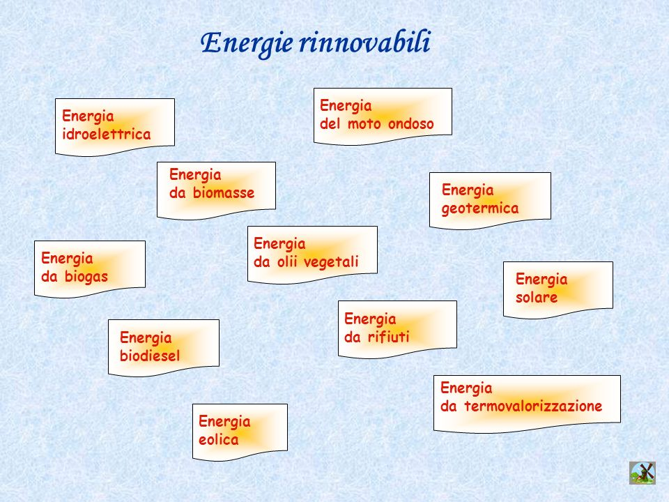 Energie rinnovabili Energia da biogas Energia biodiesel Energia eolica Energia idroelettrica Energia da biomasse Energia da olii vegetali Energia da r