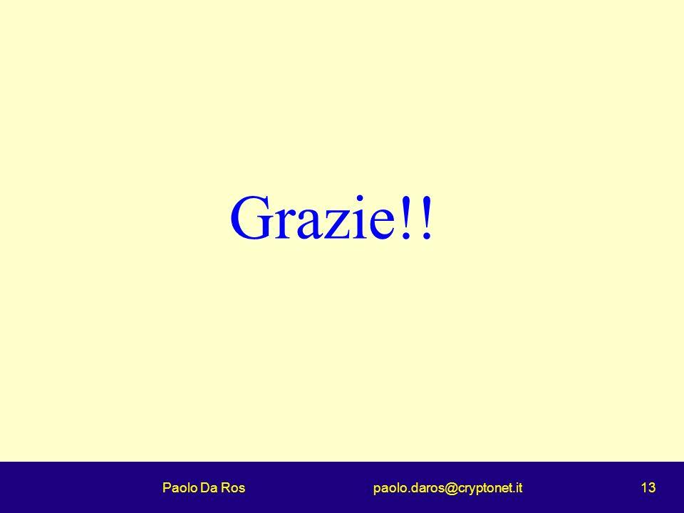 Paolo Da Ros paolo.daros@cryptonet.it 13 Grazie!!