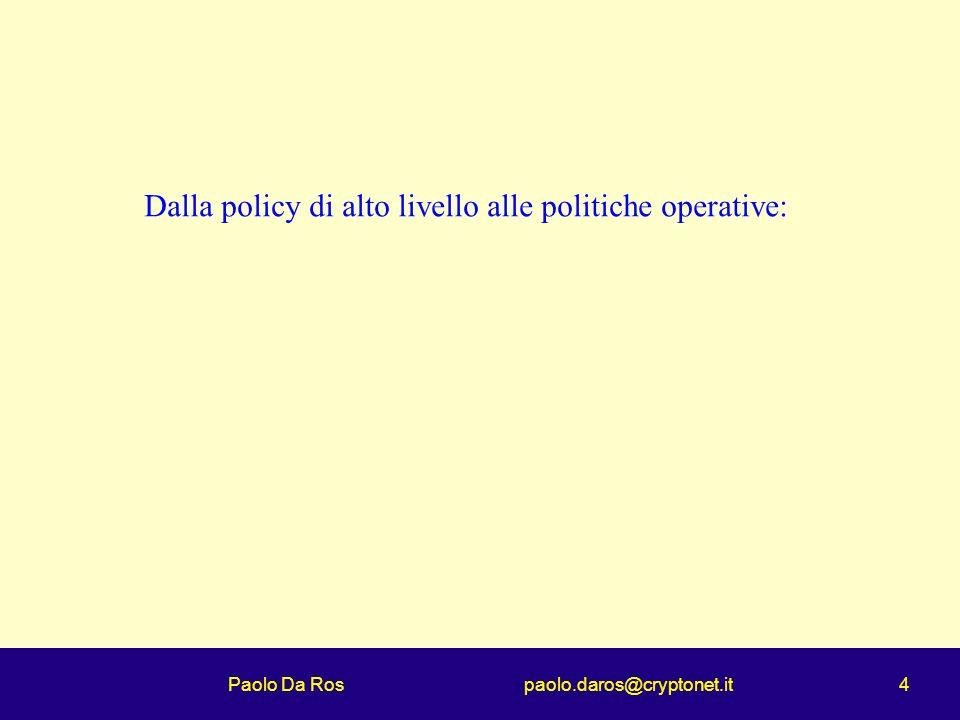 Paolo Da Ros paolo.daros@cryptonet.it 4 Dalla policy di alto livello alle politiche operative: