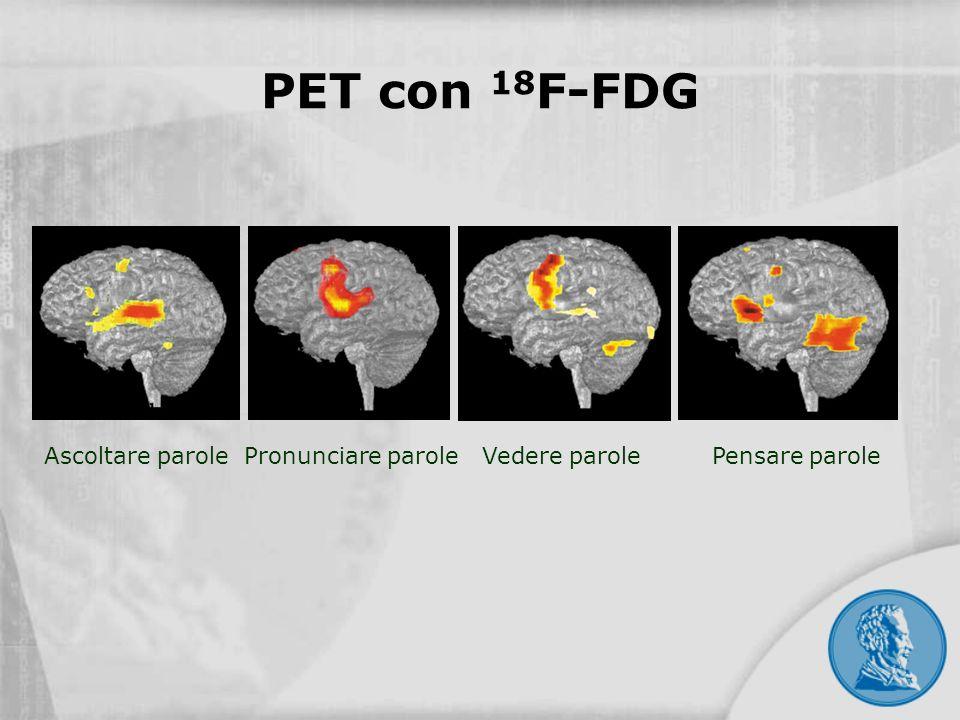 Ascoltare parole Pronunciare parole Vedere parole Pensare parole PET con 18 F-FDG